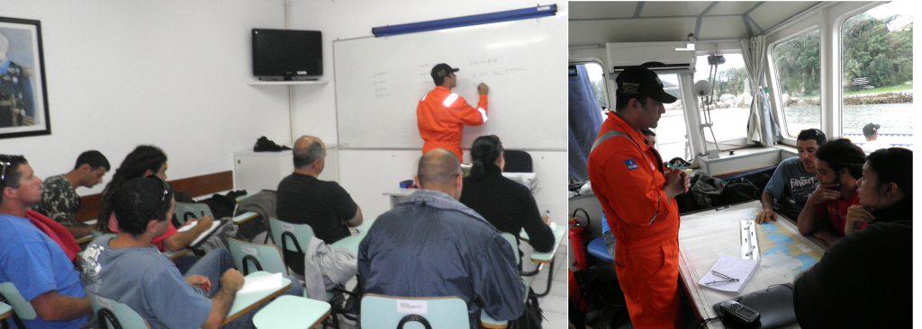 Professor Flavio Ramires dando Aulas Teóricas e Práticas ministradas na Capitania dos Portos de Santa Catarina
